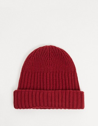 ASOS DESIGN new mini fisherman rib beanie hat in recycled polyester in burgundy