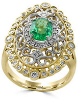 Effy Brasilica Diamonds, Emerald, 14K White Gold and 14K Yellow Gold Scrollwork Ring