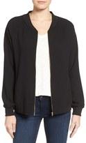 Bobeau Women's Zip Front Bomber Jacket