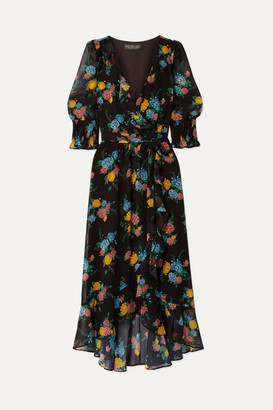Rachel Zoe Ysabelle Ruffled Floral-print Chiffon Wrap Dress - Black