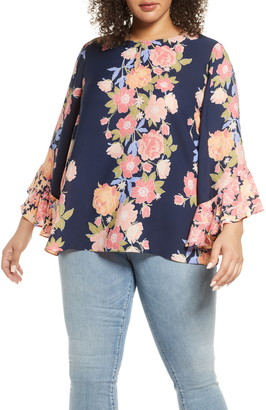 Single Thread Ruffle Sleeve Printed Blouse