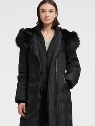 DKNY Faux Fur Hood Puffer Coat With Bib