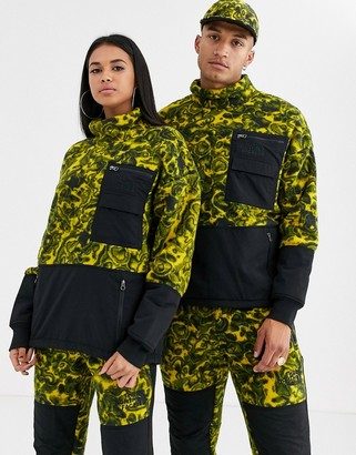 The North Face 94 Rage fleece in leopard yellow rage print