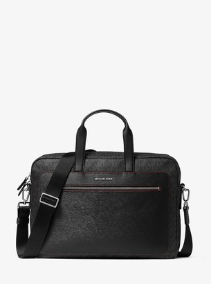 Michael Kors Hudson Logo and Crossgrain Leather Briefcase