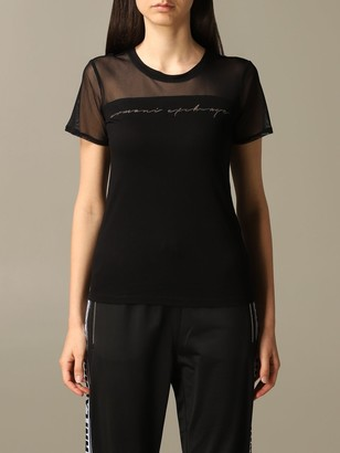 Armani Collezioni Armani Exchange T-shirt Armani Exchange T-shirt In Tulle With Logo