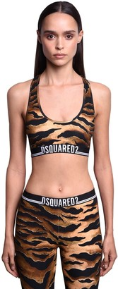 DSQUARED2 Animalier Print Cotton Jersey Sports Bra