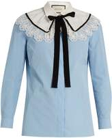 Gucci Lace-trimmed neck-tie cotton shirt