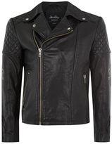 Topman JAMES BAY X Black Embroidered Leather Biker Jacket
