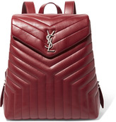Saint Laurent Loulou Quilted Leather Backpack - Burgundy