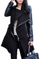 HOLDWELL's Women's Faux Leather Patchwork Long Sleeve Pea Coat Color Size M