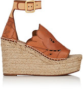 Chloé WOMEN'S LASER-CUT LEATHER ESPADRILLE WEDGE SANDALS
