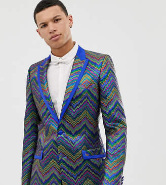 Asos Edition EDITION Tall slim tuxedo jacket in multi colored zig zag jacquard-Blue