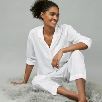 The White Company Cotton Sparkle Stripe Pyjama Set, White, Extra Small