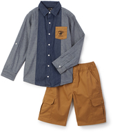 Beverly Hills Polo Club Dark Chambray Button-Up & Shorts - Toddler & Boys