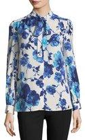 Tory Burch Kia Long-Sleeve Lili Floral Silk Bow Blouse
