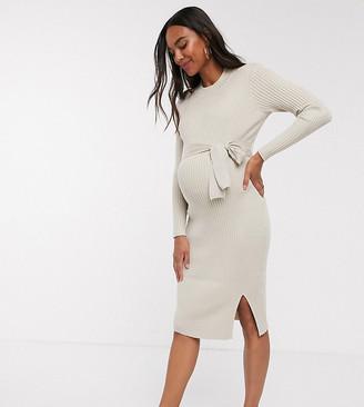 New Look Maternity tie front jumper dress in cream rib