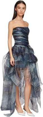 Ermanno Scervino Denim Print Organza Corset Dress