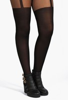 boohoo Plus Harriet Mock Suspender Tights black