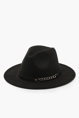 boohoo Chain Detail Fedora Hat