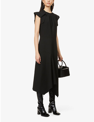 Eleventy Cap-sleeved stretch-woven midi dress