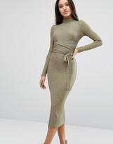 Lavish Alice Wrap Detail Midi Dress In Metallic Rib
