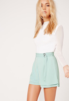 Missguided Double Belt Tie High Waisted Shorts Green