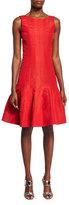Oscar de la Renta Sleeveless Flounce-Hem Dress, Cardinal