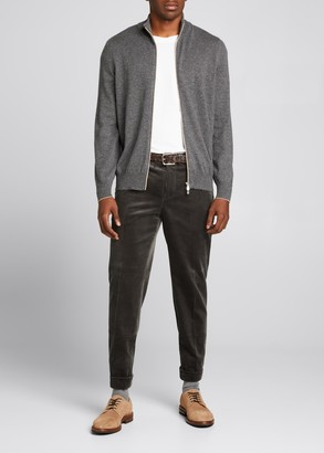 Brunello Cucinelli Men's Solid Cashmere Zip-Front Sweater