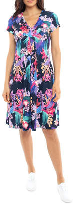 Jump Cross Front Jersey Floral Dress