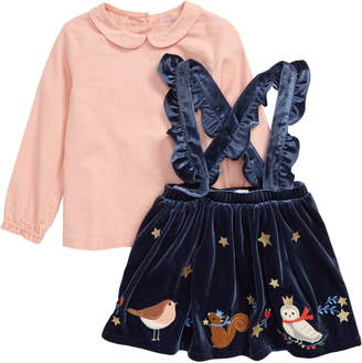 Boden Mini Collar Top & Embroidered Velvet Pinafore Set