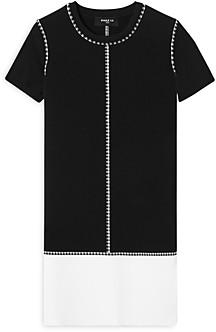 Paule Ka Checkered Color Blocked Shift Dress