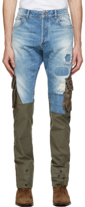 Greg Lauren Green Paul and Shark Edition Denim Cargo Pants