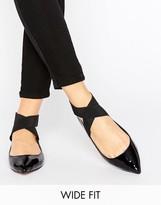 Asos LYLE Wide Fit Elastic Ballet Flats