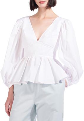 STAUD Luna Blouson-Sleeve Top