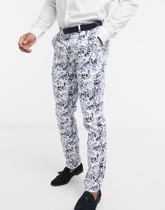 Topman skinny fit suit trousers in floral print