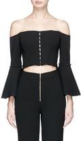 Nicholas Off-shoulder cropped crepe corset top