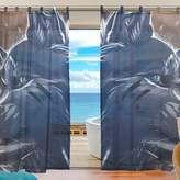 INGBAGS Bedroom Decor Living Room Decorations Wolf Pattern Print Tulle Polyester Door Window Gauze / Sheer Curtain Drape Two Panels Set ,Set of 2