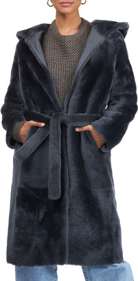 Yves Salomon Short Hooded Shearling Lamb Coat with Belt