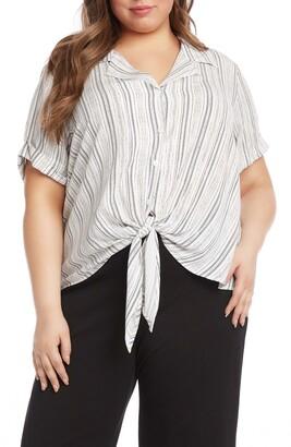 Karen Kane Roll Sleeve Tie Front Stripe Top