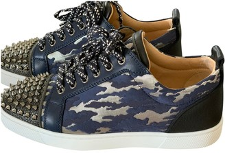 Christian Louboutin Louis junior spike Blue Leather Trainers