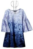 My Michelle mymichelle Ombre Bell Sleeve Crushed Velvet Dress with Necklace (Big Girls)
