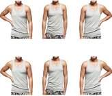 Godsen Mens 6-Packs Elastic A-Shirt Tank Top Knit Undershirts (S, )
