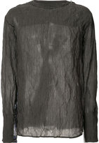 Yang Li semi-sheer longsleeved T-shirt - men - Cotton/metal - 48