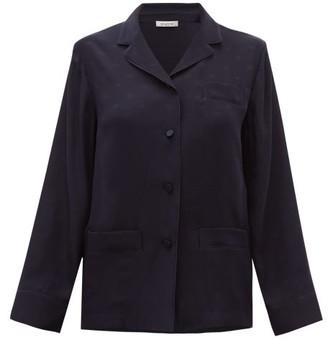 Valentino V-logo Jacquard Satin-back Silk-chiffon Shirt - Navy