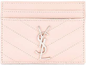 Saint Laurent Monogramme Credit Card Case in Marble Pink | FWRD