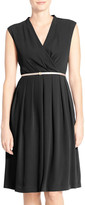 Ellen Tracy Belted Woven Fit & Flare Dress