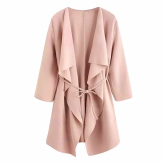 LEXUPE Women Autumn Winter Warm Comfortable Coat Casual Fashion Jacket Waterfall Collar Pocket Front Wrap Coat Jacket Outwear Pink