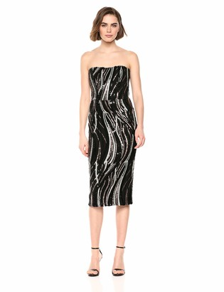 Dress the Population Women's Claire Strapless Sequin MIDI Sheath Dress
