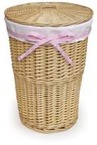Badger Basket Round Rattan Hamper In Natural With White Waffle Liner