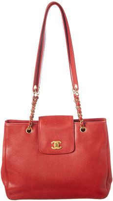Chanel Red Caviar Leather Small Supermodel Tote